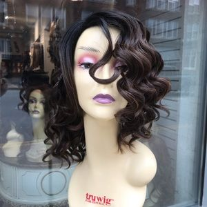 Brown ombré ash brown Bob wig curly SidePart short